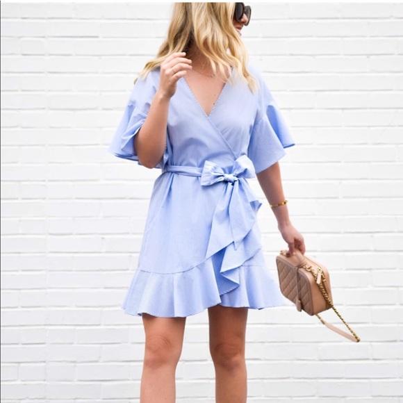 edcba0f34149 Topshop Dresses | Stripe Poplin Wrap Dress | Poshmark